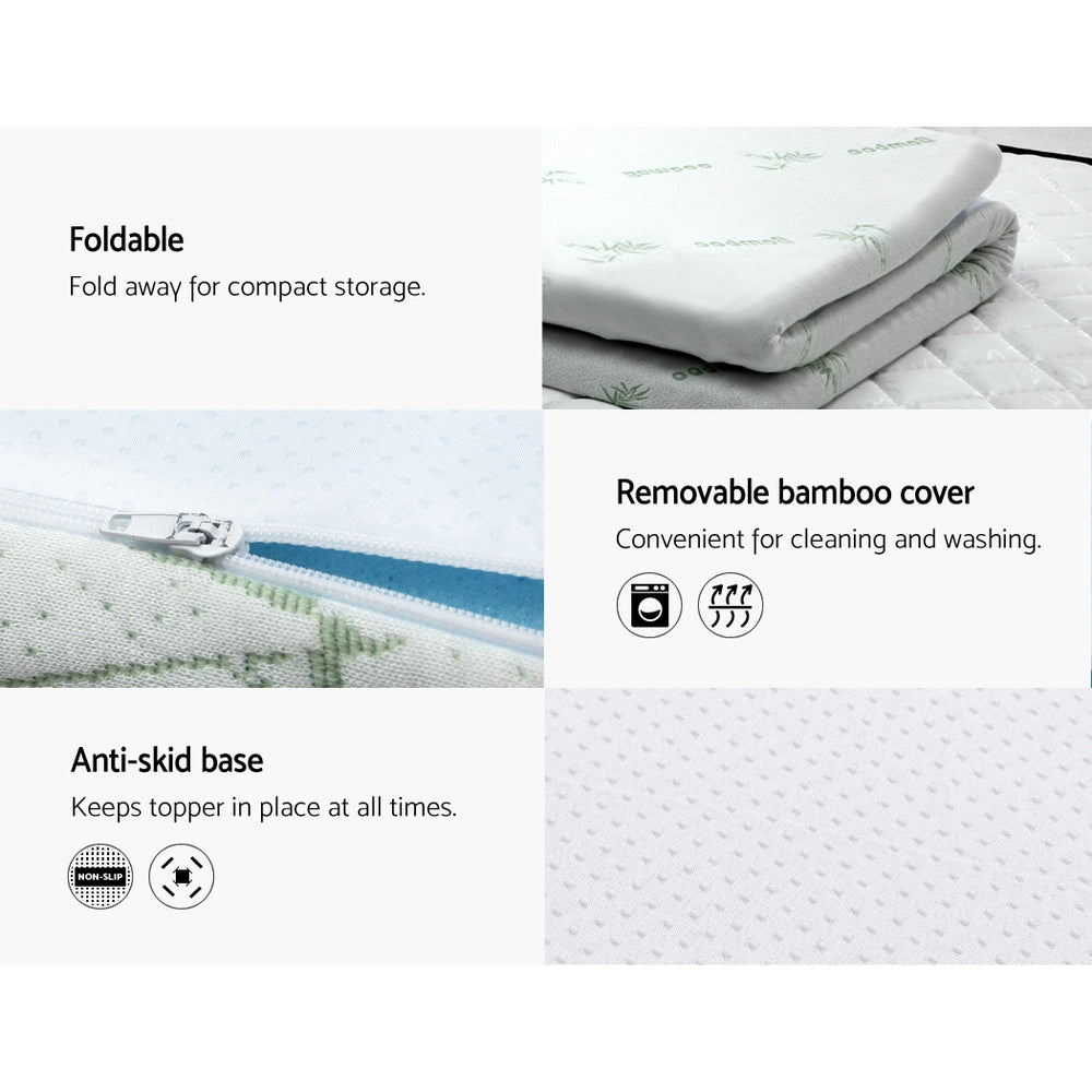 Giselle Bedding COOL GEL Memory Foam Mattress Topper BAMBOO Cover Queen 5CM Mat