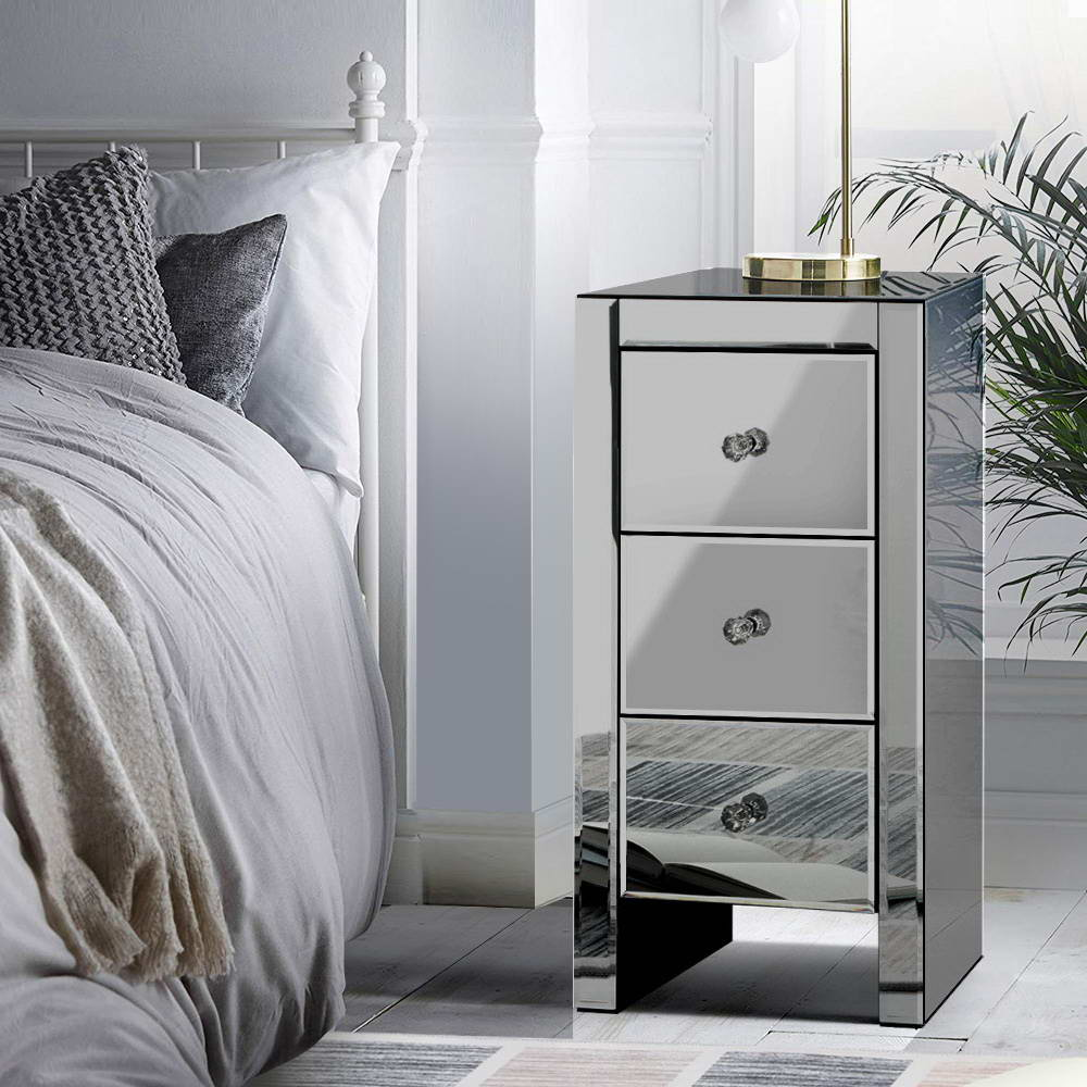 Artiss Mirrored Bedside Tables Drawers Crystal Chest Nightstand Glass Grey