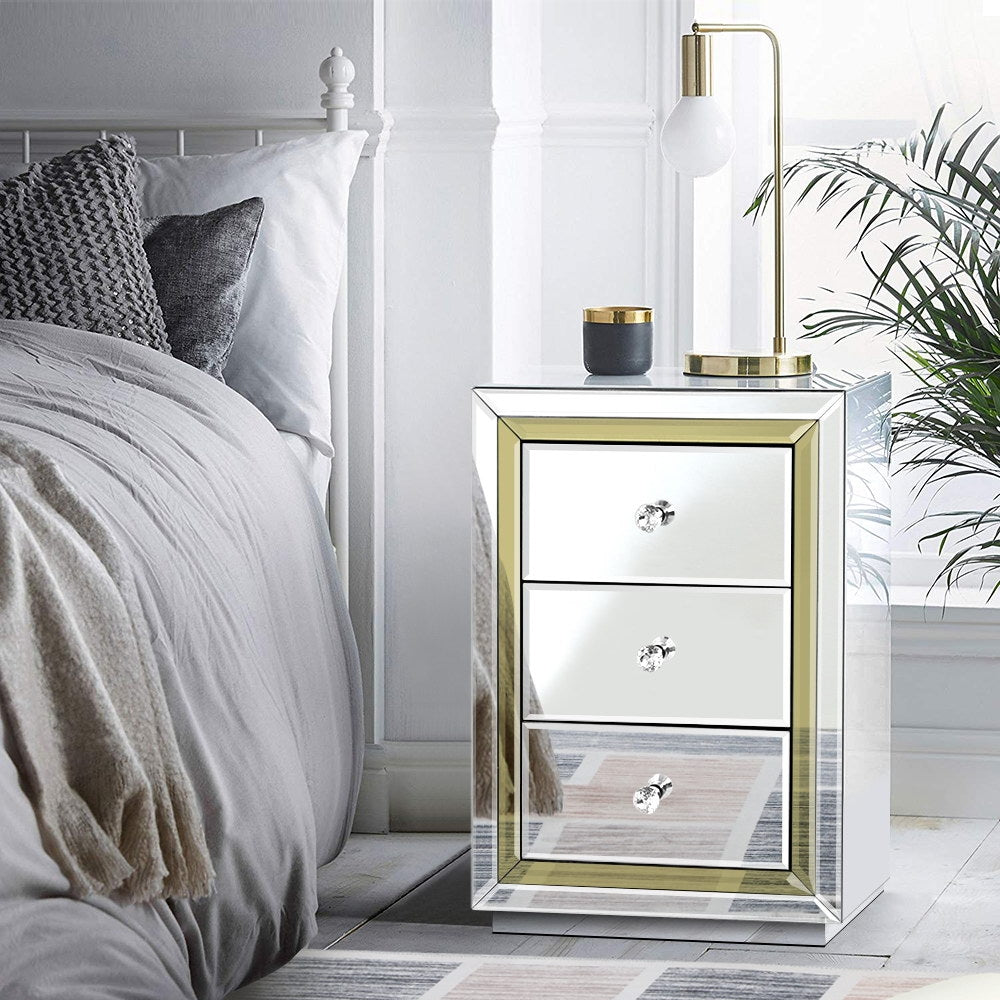 Artiss Mirrored Furniture Bedside Table Chest Drawers Gloss Nightstand - [HappyShopping.com.au]