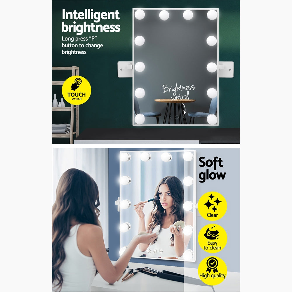 Embellir Hollywood Wall mirror Makeup Mirror With Light Vanity 12 LED Bulbs - [HappyShopping.com.au]
