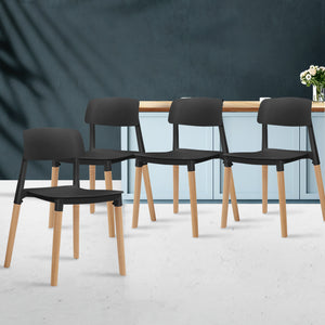 Artiss Set of 4 Belloch Replica Dining Chairs Kichen Cafe Stackle Beech Wood Legs Black