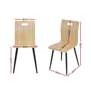 4x Artiss Dining Chairs Bentwood Seater Metal Legs Cafe Kitchen Chair Wooden