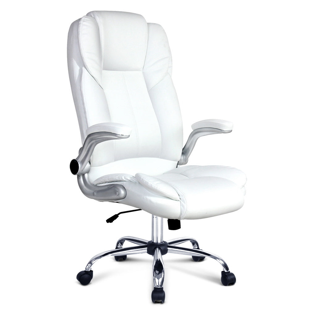 PU Leather Executive Office Desk Chair - White