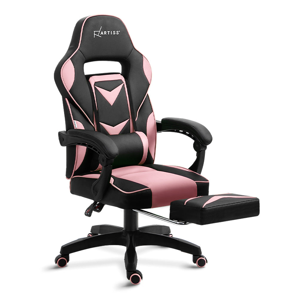 Artiss Office Chair Computer Desk Gaming Chair Study Home Work Recliner Black Pink - [HappyShopping.com.au]