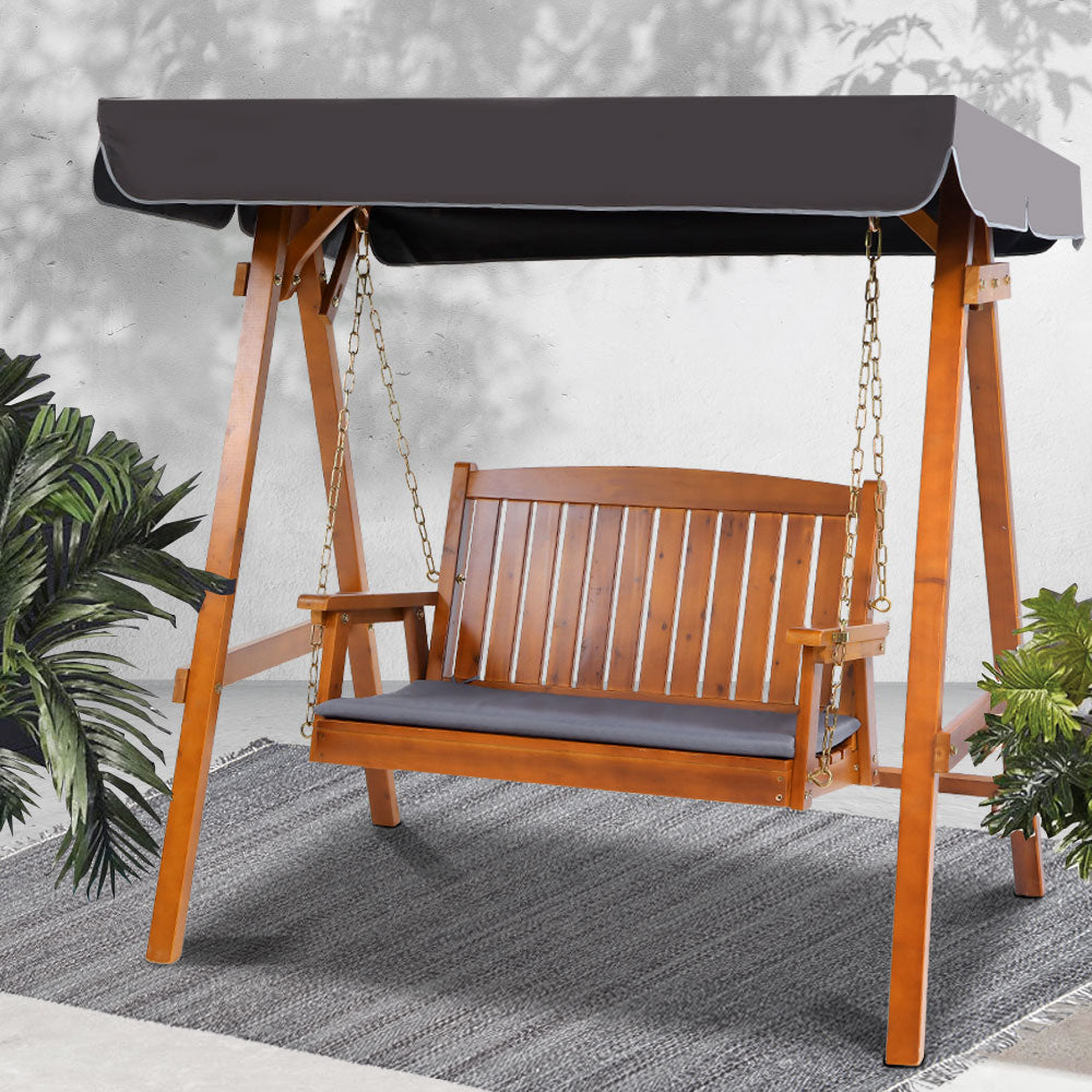 Gardeon Swing Chair Wooden Garden Bench Canopy 2 Seater Outdoor Furniture - [HappyShopping.com.au]