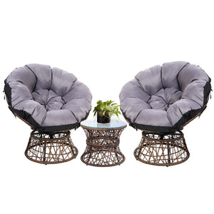 Gardeon Papasan Chair and Side Table Set-Brown