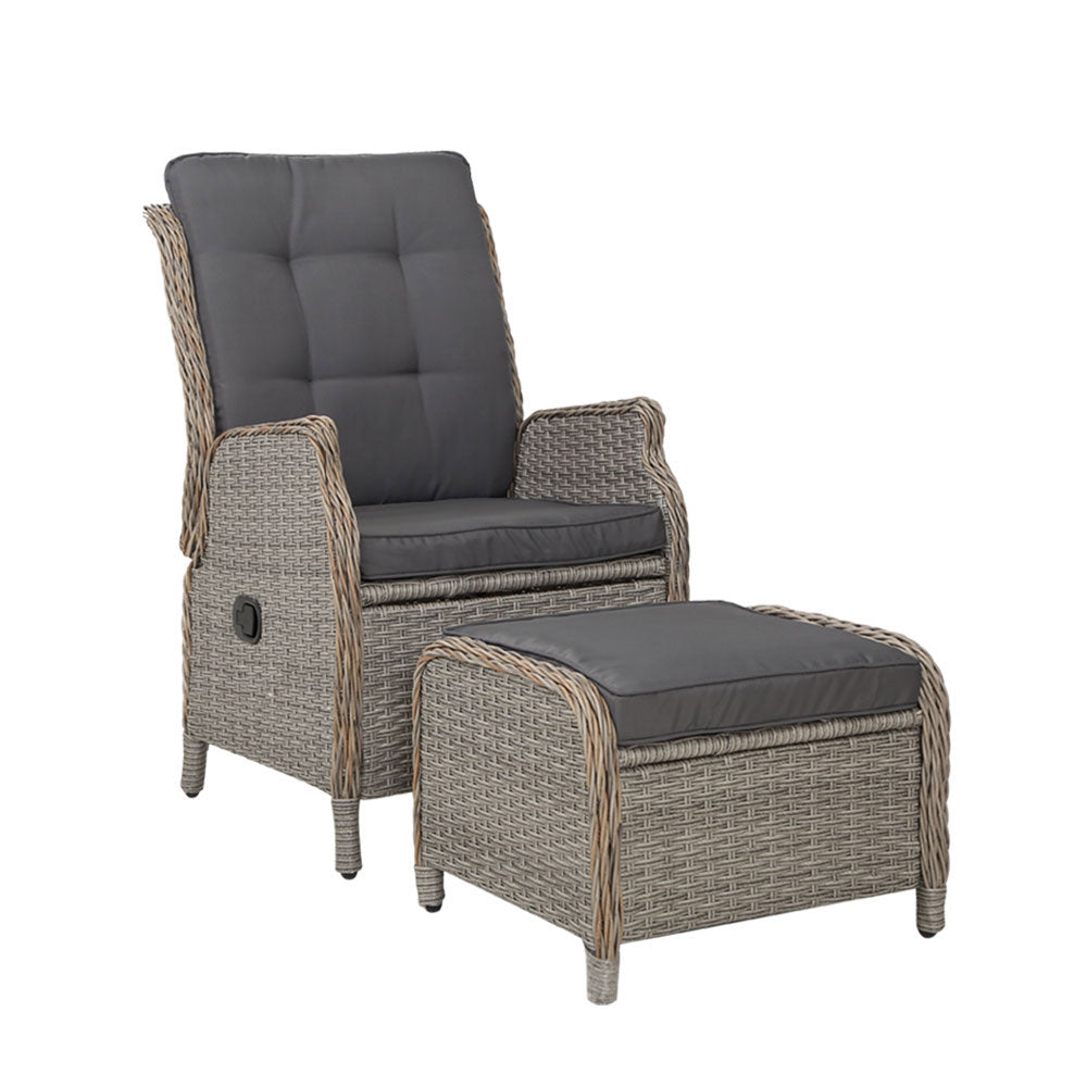 Gardeon Recliner Chair Sun lounge Outdoor Setting Patio Furniture Wicker Sofa