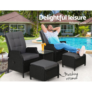 Gardeon Recliner Chairs Sun lounge Setting Outdoor Furniture Patio Garden Wicker