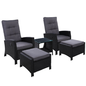 Gardeon Outdoor Patio Furniture Recliner Chairs Table Setting Wicker Lounge 5pc Black