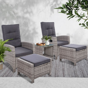 Gardeon Outdoor Patio Furniture Recliner Chairs Table Setting Wicker Lounge 5pc Grey - [HappyShopping.com.au]