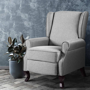 Artiss Recliner Chair Luxury Lounge Armchair Single Sofa Couch Fabric Grey - [HappyShopping.com.au]