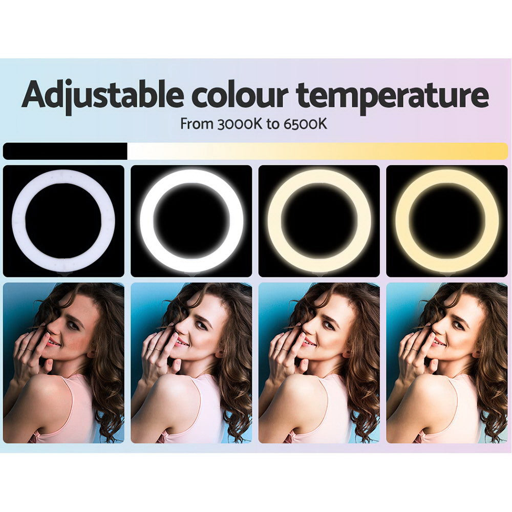 "Embellir 14"" LED Ring Light 5600K 3000LM Dimmable Stand MakeUp Studio Video - [HappyShopping.com.au]"