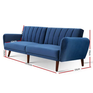 Artiss Sofa Bed Lounge 3 Seater Futon Couch Recline Chair Wooden 207cm Velvet Blue