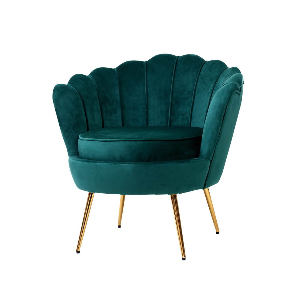 Artiss Armchair Lounge Chair Accent Armchairs Retro Lounge Accent Chair Single Sofa Velvet Shell Back Seat Green - [HappyShopping.com.au]
