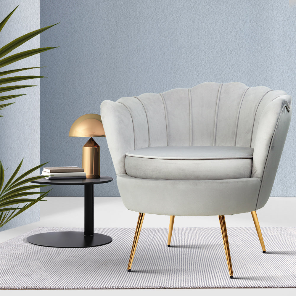Artiss Armchair Lounge Chair Accent Armchairs Retro Single Sofa Velvet Grey - [HappyShopping.com.au]