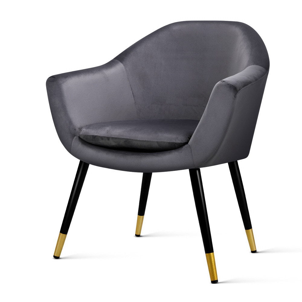 Artiss Armchair Accent Chair Retro Wooden Armchairs Single Sofa Velvet Seat Grey - [HappyShopping.com.au]