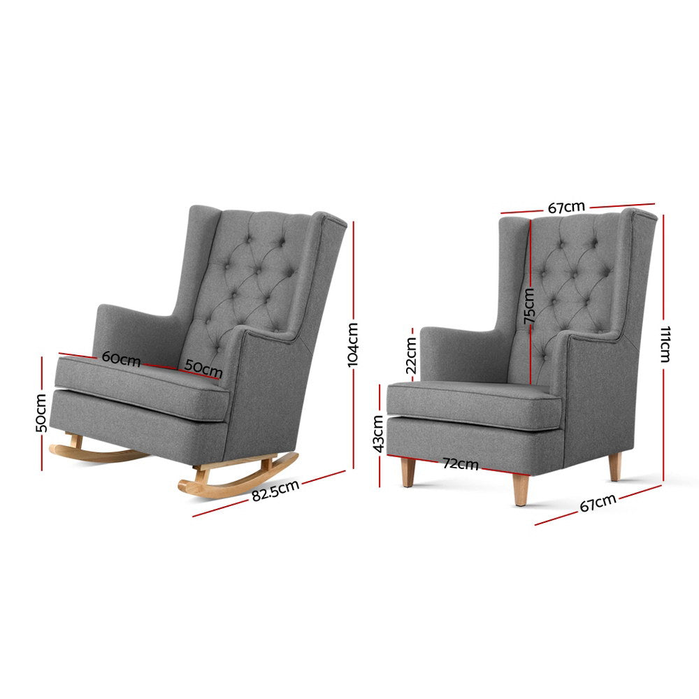 Artiss Rocking Armchair Feeding Chair Linen Fabric Armchairs Lounge Retro Grey - [HappyShopping.com.au]