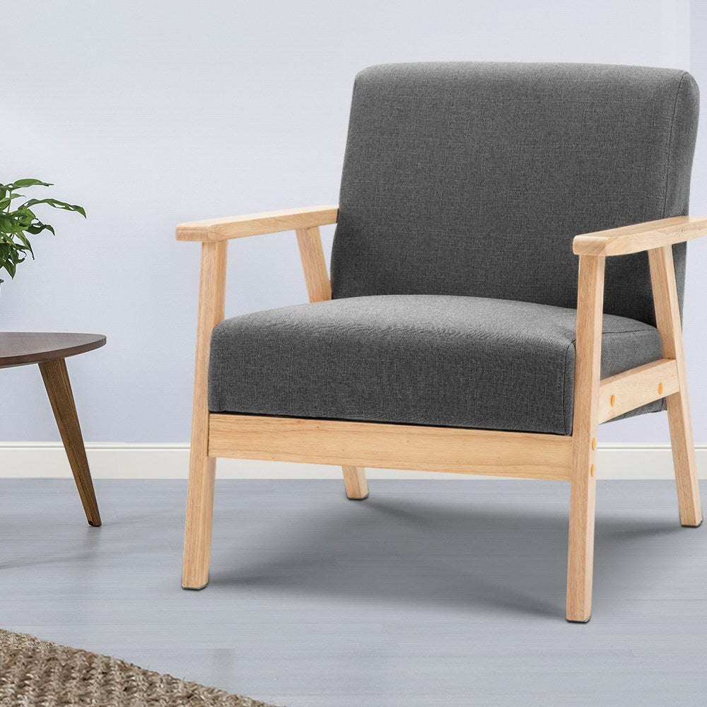 Artiss Fabric Armchair - Grey - [HappyShopping.com.au]