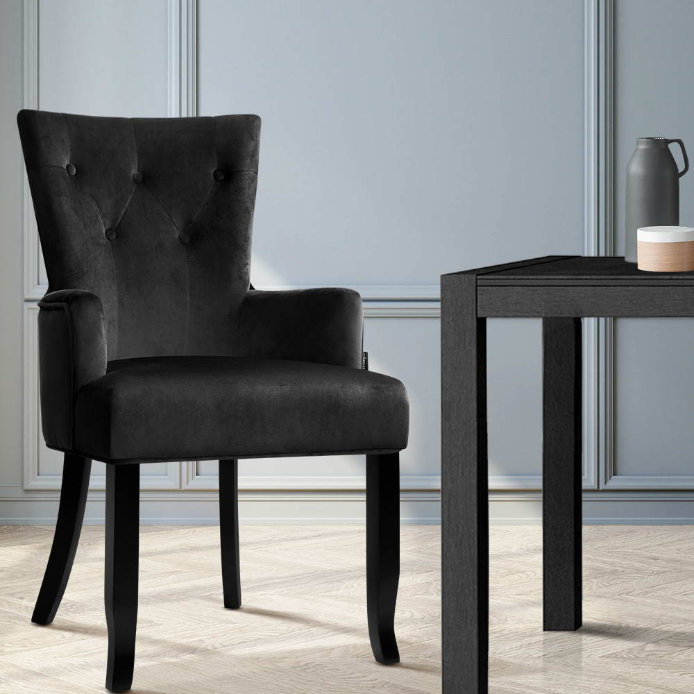 Artiss Dining Chairs French Provincial Chair Velvet Fabric Timber Retro Black - [HappyShopping.com.au]