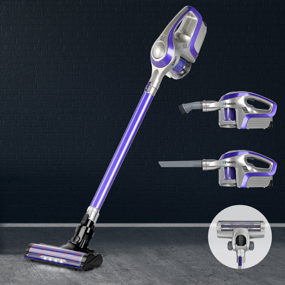 Devanti Cordless 150W Handstick Vacuum Cleaner - Purple and Grey