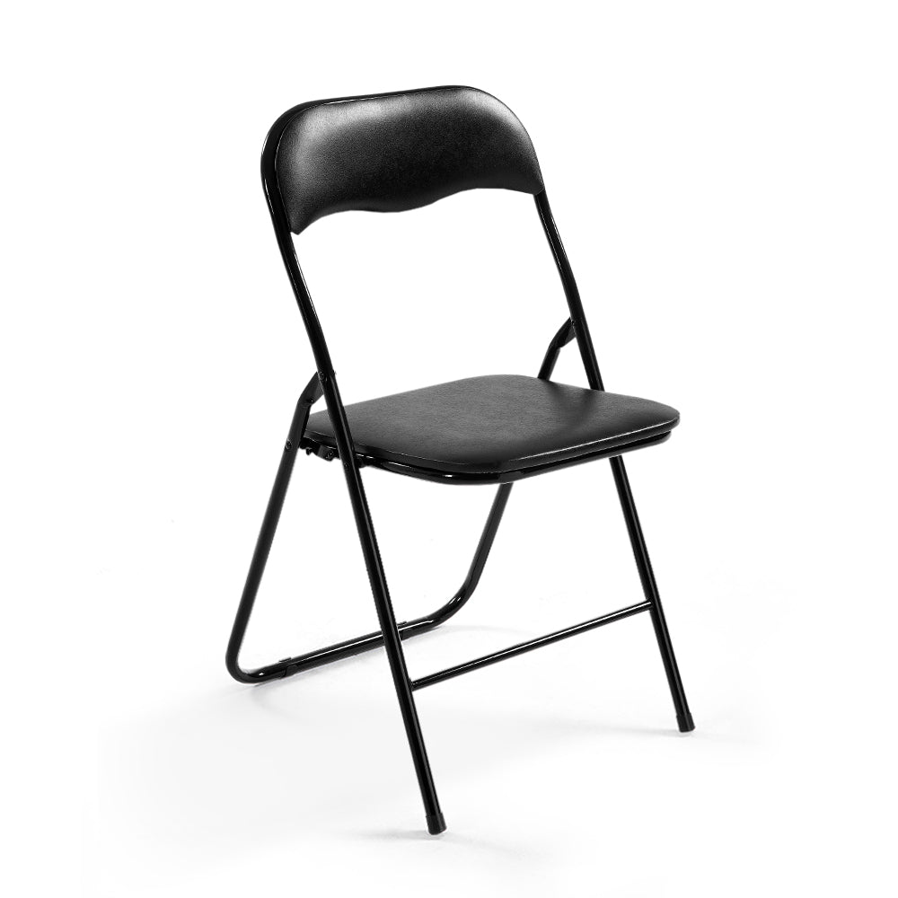 Artiss 6x Portable Vinyl Folding Chair Padded Seat Steel Frame Black 6 Pack