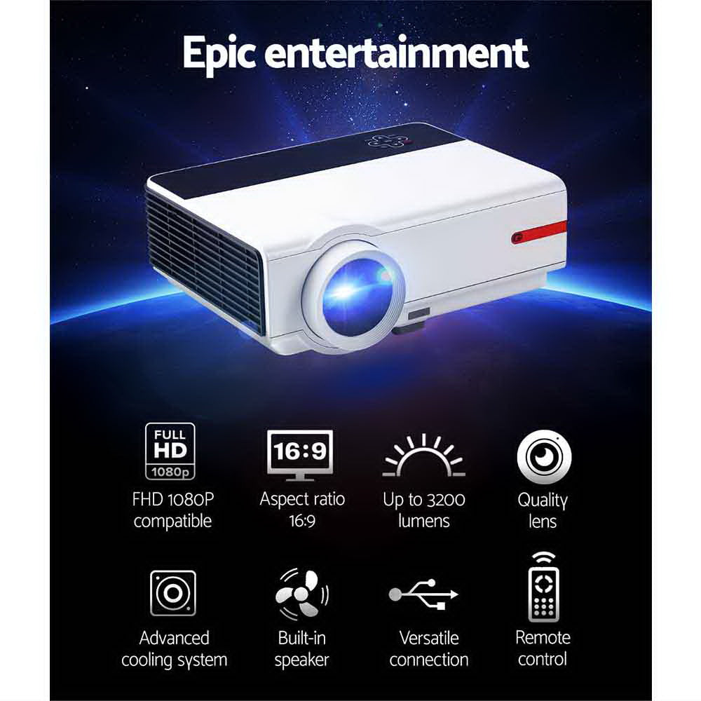 Devanti Mini Video Projector Portable HD 1080P 3200 Lumens Home USB VGA HDMI