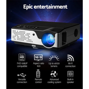 Devanti Video Projector Wifi USB Portable 4000 Lumens HD 1080P Home Theater Black