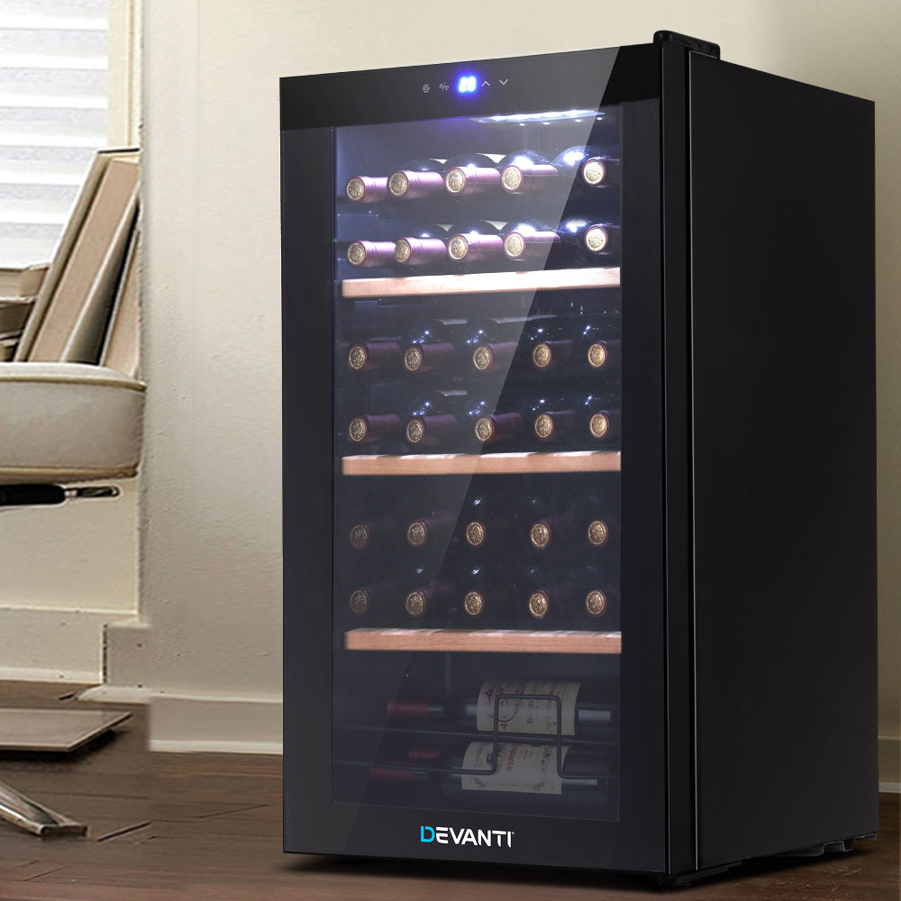 Devanti 34 Bottles Wine Cooler Compressor Chiller Beverage Fridge - [HappyShopping.com.au]