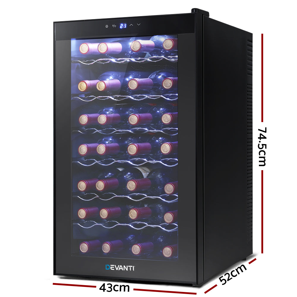 Devanti Wine Cooler 28 Bottles Glass Door Beverage Cooler Thermoelectric Fridge Black