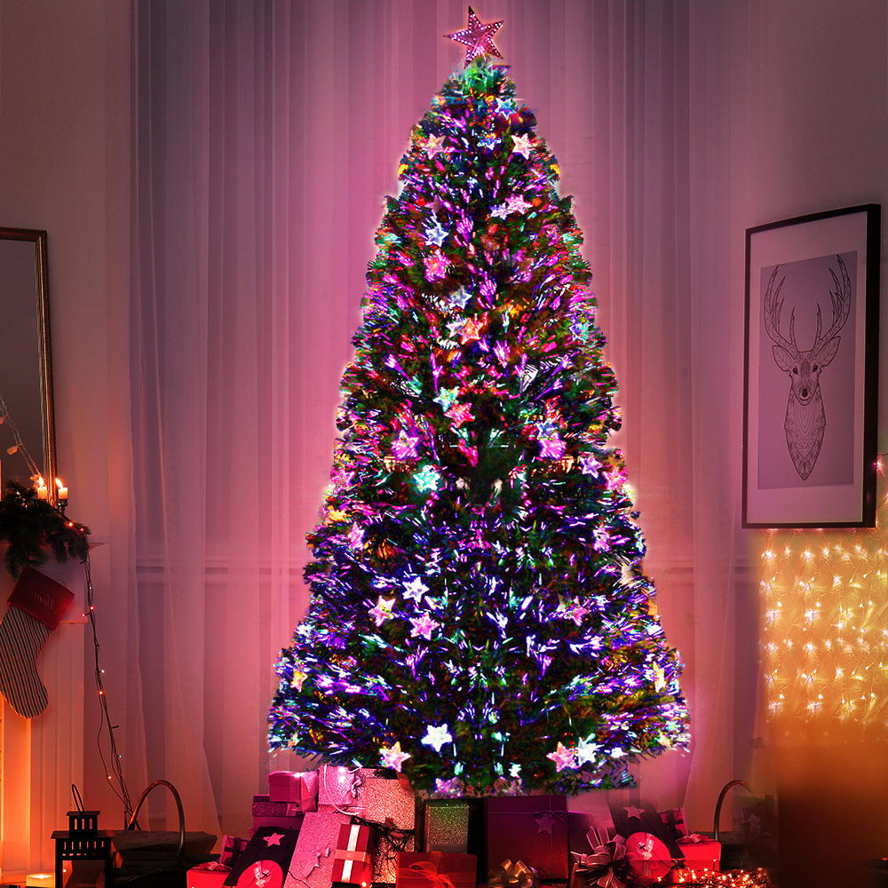 Jingle Jollys 2.4M 8FT LED Christmas Tree Xmas Optic Fiber Multi Colour Lights