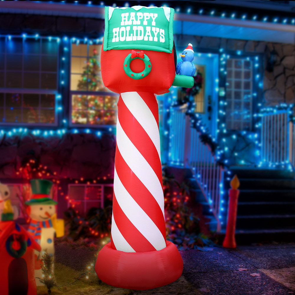 Jingle Jollys Inflatable Christmas Mailbox 2.4M Lights Xmas Outdoor Decoration