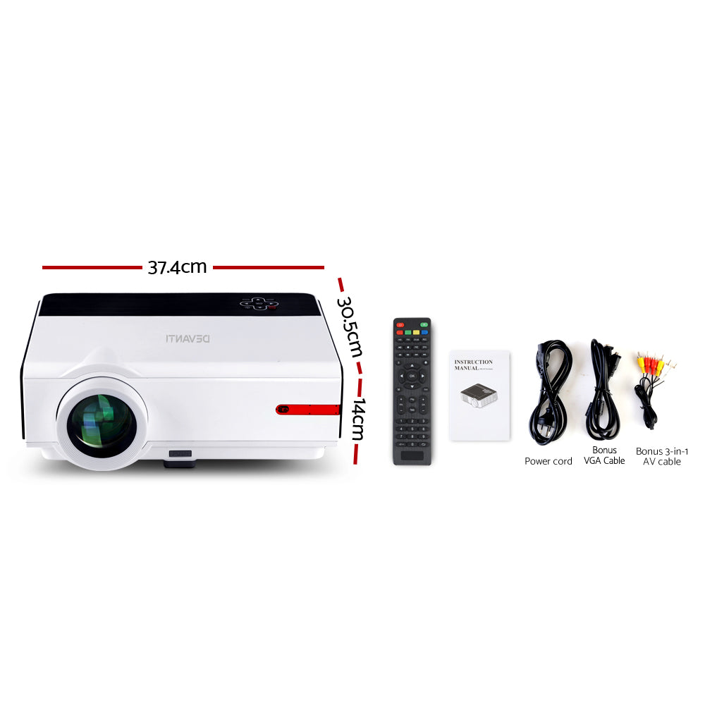 Devanti Smart Full HD 1080P Android Video Projector Home Cinema Theatre WiFi Bluetooth - [HappyShopping.com.au]