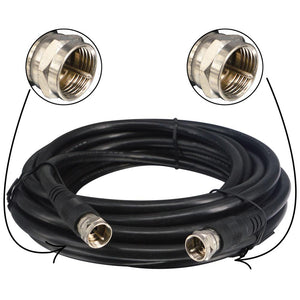 TV Coax Black Cable Weather Proof F Male to Male with RG6 Coaxial Cable 5M Connector Coax Satellite TV 75 Ohm Digital Coax