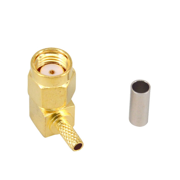 10 Pieces RP SMA Male Plug 90 Degree Crimp RG174 RG316 LMR100 Cable Right Angle RF Coaxial Connector