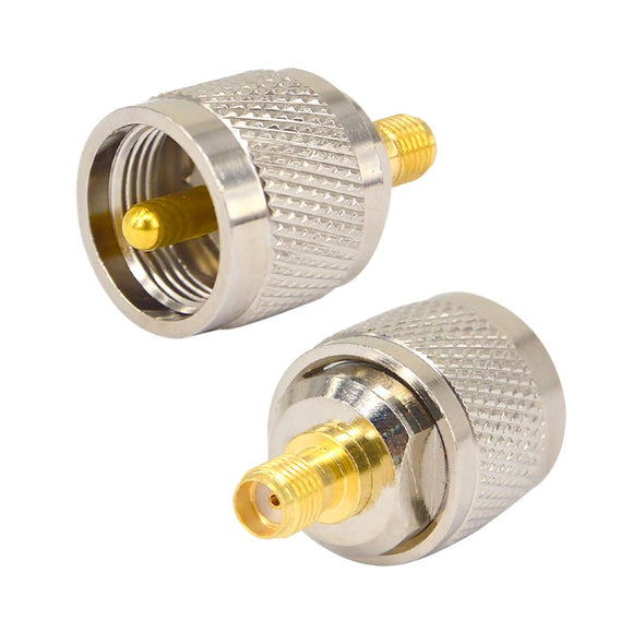 2 Pieces UHF Male PL259 Plug to SMA Female Jack Straight RF Connector Adapter