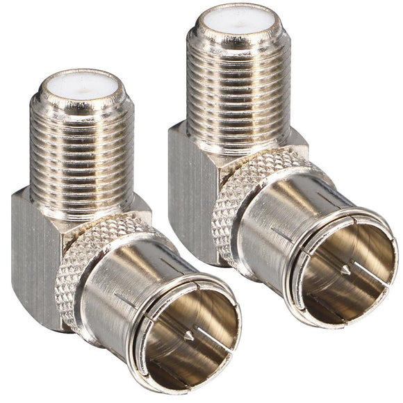 2 Pieces F Male to Female Right Angle Coax connectors Type F Adapters Push on Coaxial Quick Connect RG6 Connectors