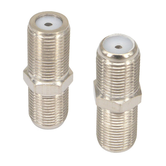 2 Pieces  F female to F female jack socket Connector for Connecting TV satellite receiver VCR cable modem off-air antenna