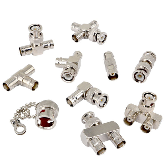 10 Type Set BNC Adapter Kits Cover BNC to BNC Connector Straight 90 Degree Nickel Gold Plated Test Converter