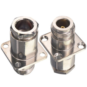 2 Pieces N Type Connector N Jack Female RF Coax Connector Straight 4 Hole Flange Panel Mount Clamp for LMR400 Coaxial Cable