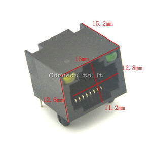 New Arrival ( 50 pcs/lot ) Original Package RJ45 Led light Connector All Plastic Board  Unshielded RJ45