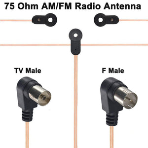 75 Ohm AM/FM Radio Antenna Universal T type Dipole HD Audio Aerial F Male/TV Male for Yamaha