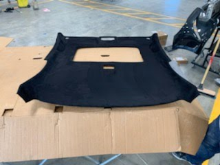 Jaymee Godinez 07 Civic SI Coupe Headliner board Recovered in Black Stretch Suede