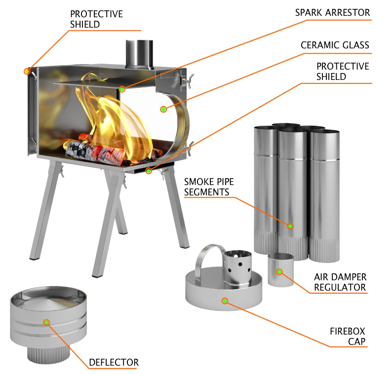 Small Wood Stove With Fire Resistant Glass