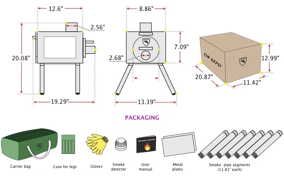 Small Wood Stove With Fire Resistant Glass Diagram