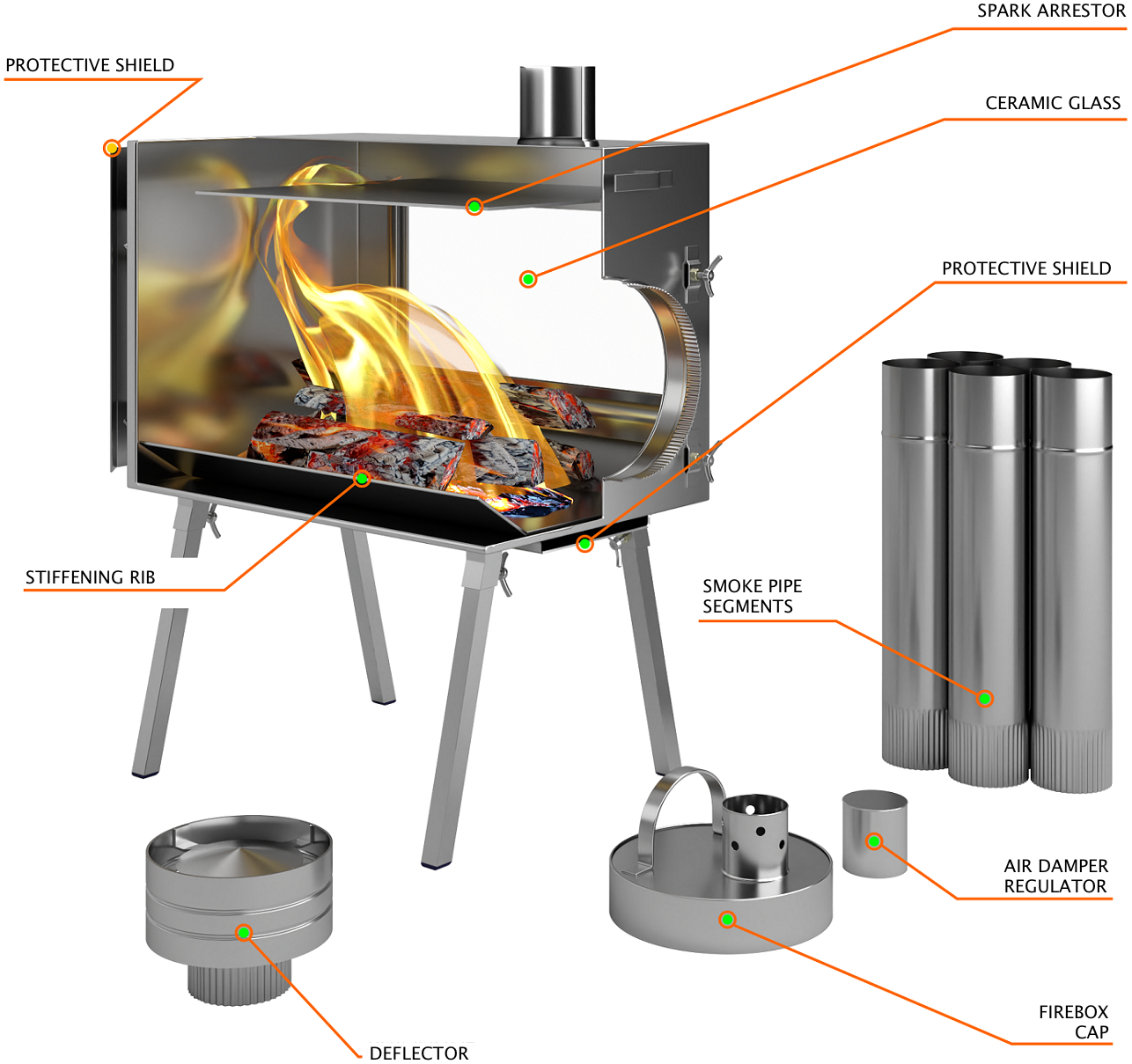 Medium Wood Stove With Fire-Resistant Glass