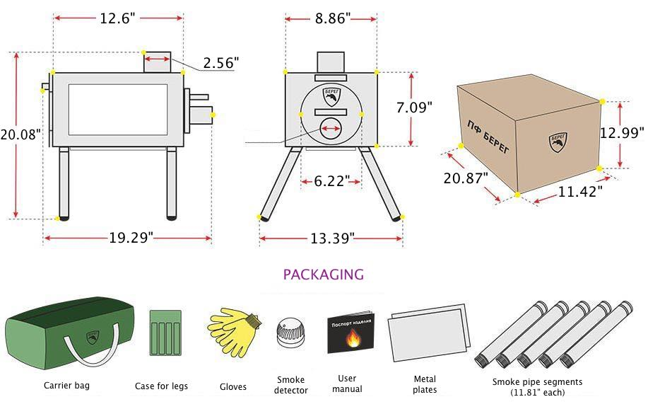 Medium Wood Stove With Fire-Resistant Glas Diagram