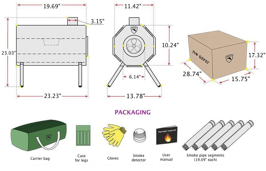 Universal Wood Stove Vector Diagram
