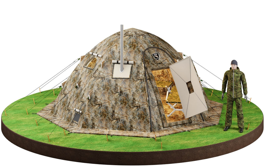 "All-Season Premium Outfitter Tent with Stove Jack ""UP-5"". Comfort for 3-8 People."