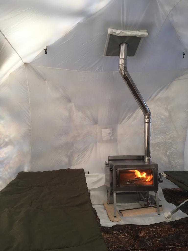 "All-Season Premium Outfitter Tent with Stove Jack ""Cuboid 4.40"". Best tent for 1-6 person."