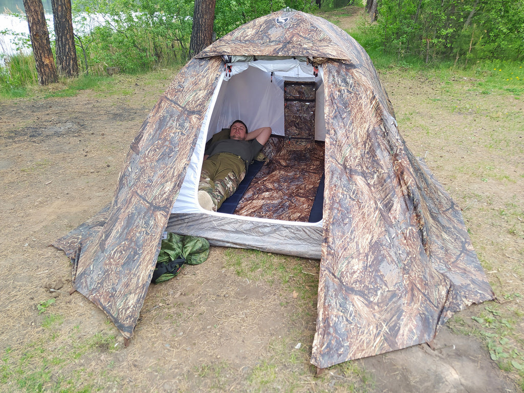 "All-Season Tent with Stove Jack ""Sputnik-3"". Best for 1- 3 person."